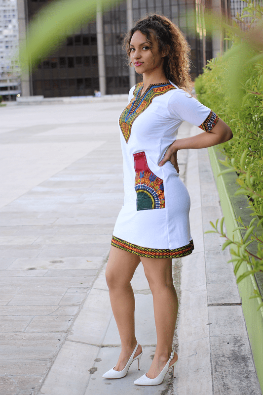 illustration Robe crayon blanc wax dashiki 5