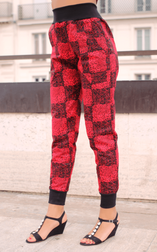 illustration Haut bustier et Pantalon en wax borde-côtes vue de gauche