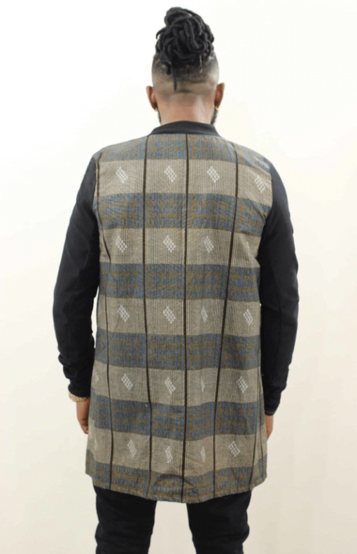 illustration Veste longue en wax vue de dos